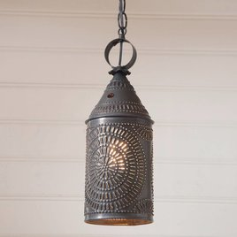Irvin's Tinware Hanging Lantern in Blackened Tin