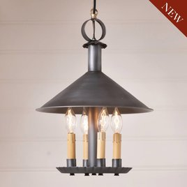 Irvin's Tinware Smethport Hanging Lamp in Antique Tin