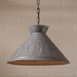 Irvin's Tinware Roosevelt Shade Light with Willow in Blackened Tin
