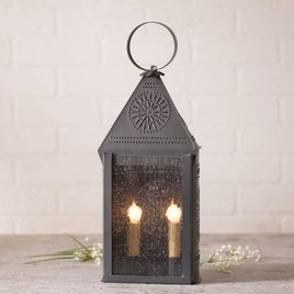 Hospitality Lantern with Chisel in Blackened Tin