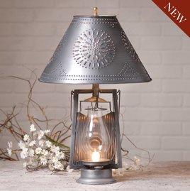 Farmer's Lamp with Shade in Antique Tin