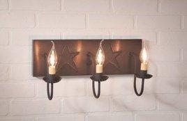 Three Arm Vanity Light with Stars in Blackened Tin