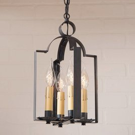 Irvin's Tinware Four Light Saddle Light in Blackened Tin
