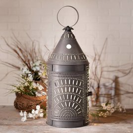 Irvin's Tinware Blacksmith's Lantern with Chisel in Blackened Tin