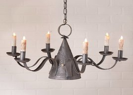 Irvin's Tinware Millhouse Chandelier in Blackened Tin