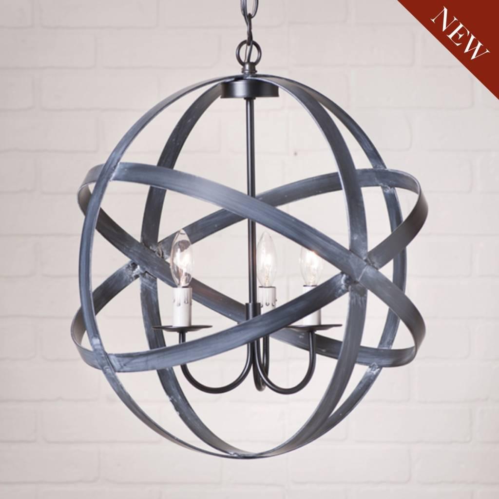 Strap Sphere Chandelier in Black 18 Inch
