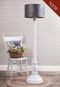 Brinton House Floor Lamp in Farmhouse White with Drum Shade