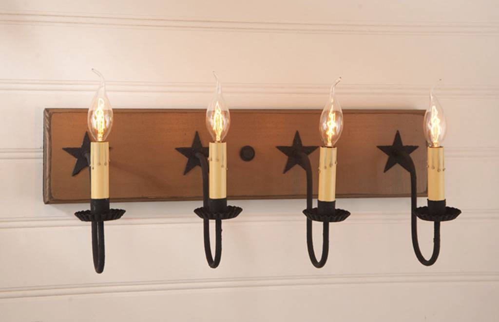 Irvin's Tinware Four Light Vanity Light with Stars in Sturbridge