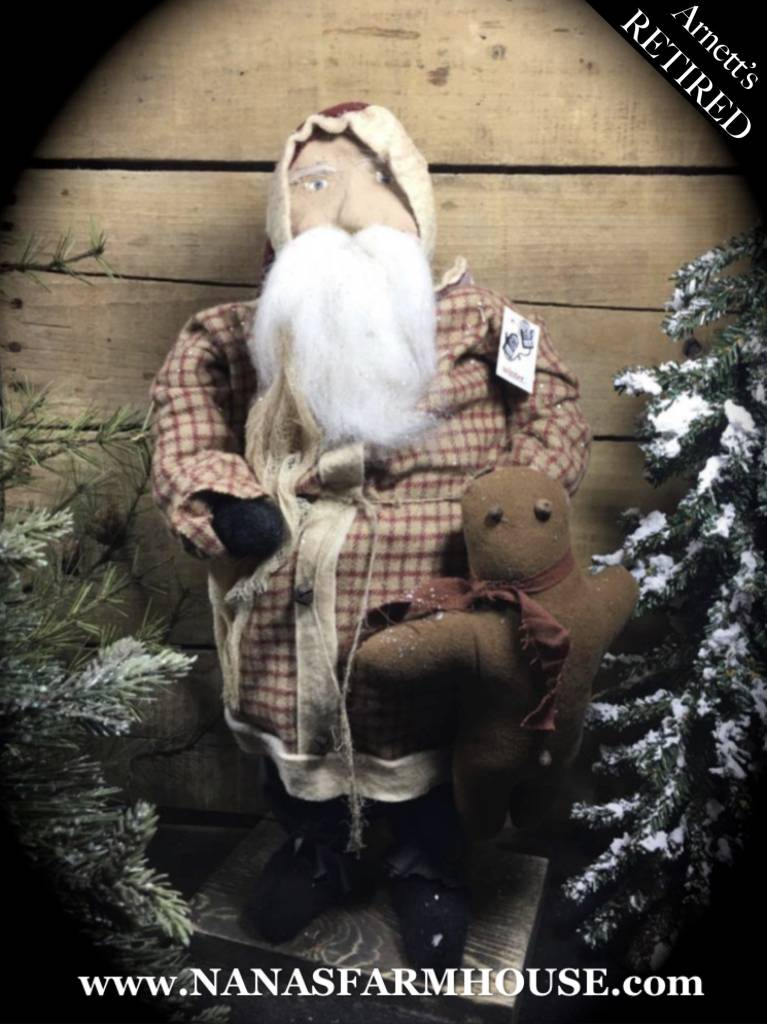 Arnett's Santa in Red Plaid with Gingerbread JC14