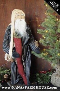 Arnett's Arnett's Santa in Navy Stripe Night Shirt JC33