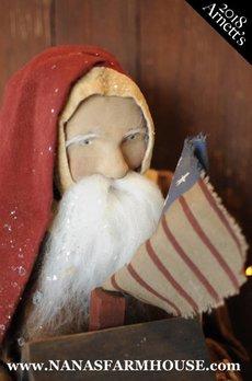 Arnett's Santa Holding Saltbox House & Flag AC1