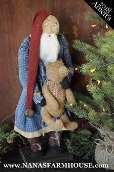 Arnett's Arnett's Santa in Blue Plaid Night Shirt Holding Bear TC3