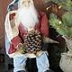 Arnett's JC25 Arnett's Santa Sitting with Pinecone