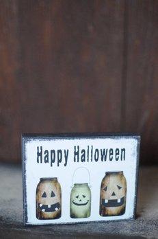 Happy Halloween Jars Block Sign