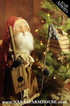 Arnett's Arnett's Santa Holding Flag & Banjo JC26