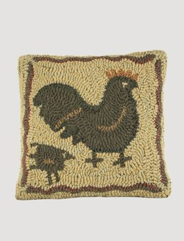 Mother Hen Hooked Pillow