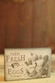 Farm Fresh Eggs Block Sign