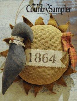 Primitive 1864 Hanging Sunflower & Crow