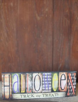 Halloween - Trick Or Treat Block Sign