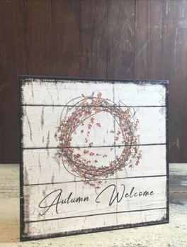 Bittersweet Wreath Autumn Welcome Sign