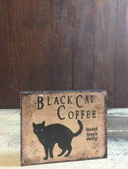 Black Cat Coffee Block Sign