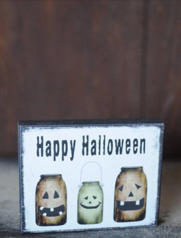 Happy Halloween Jars Block Sign
