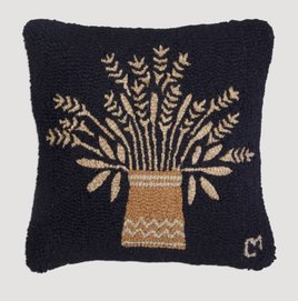 "Wheat Vase Hand Hooked Pillow 18""x18"""