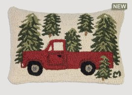 Truck in Trees Hand Hooked Pillow