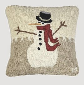 Snowman in Stitches Hand Hooked Pillow