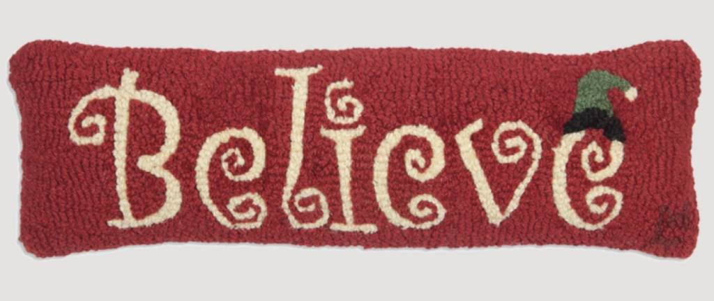 Believe Hand Hooked Pillow