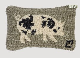Spotted Pig Hand Hooked Pillow
