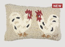 Two Little Hens Hand Hooked Pillow