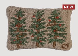 Three Trees Hand Hooked Pillow