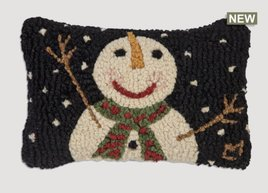 Cheers Snowman with Flake Hand Hooked Pillow