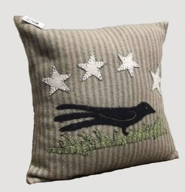 Home Collections By Raghu Crow At Night Olive Green Pillow