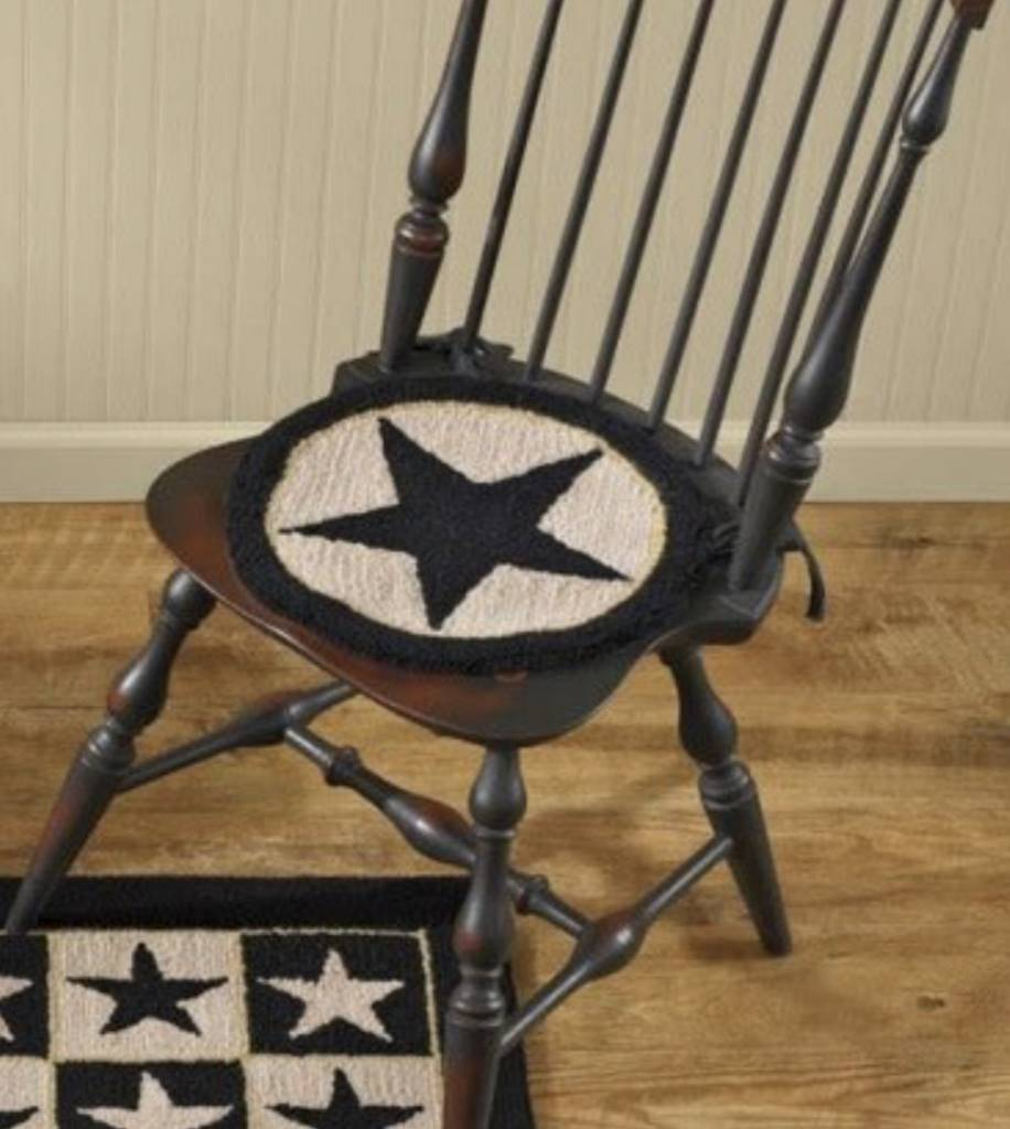 Park Designs Black Star Hooked Chair Pad