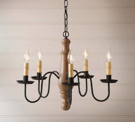 Norfolk Wood Chandelier in Sturbridge Medium