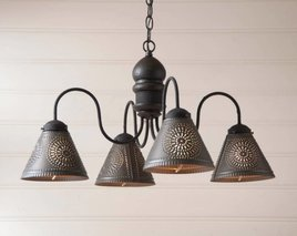 Irvin's Tinware Cambridge Wood Chandelier in Americana