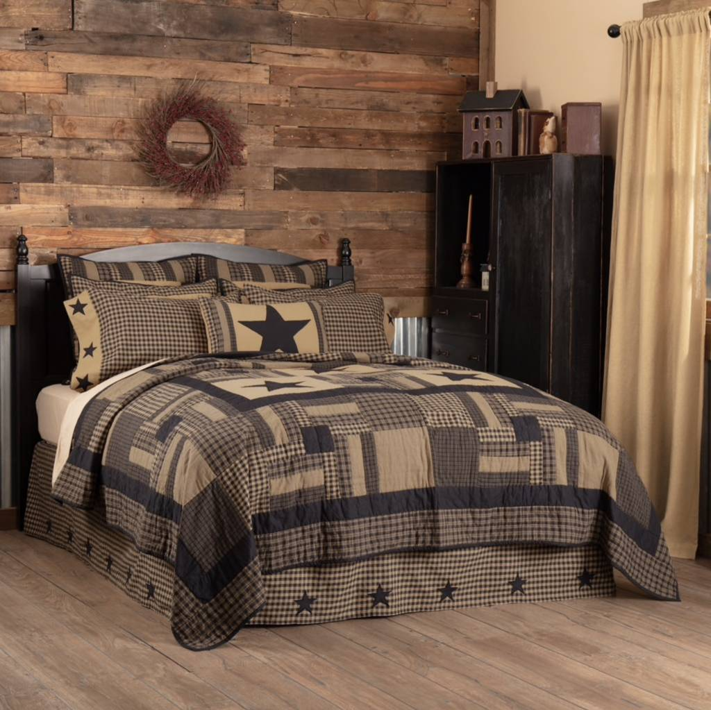 VHC Brands Black Check Star Quilt Bedding Collection