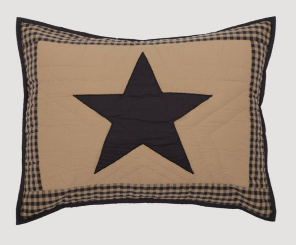 VHC Brands Black Check Star Shams