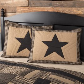 VHC Brands Black Check Star Pillow Sham