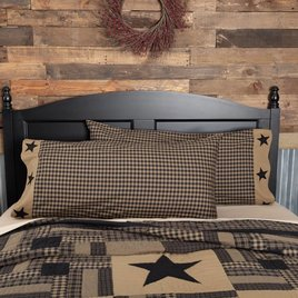 VHC Brands Black Check Star Pillow Case Set of 2