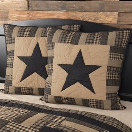 "VHC Brands Black Check Star Quilted Euro Sham - 26"" x 26"""