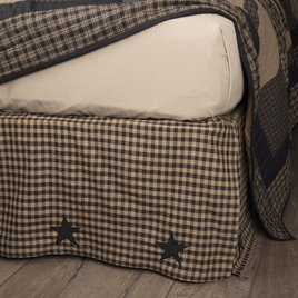 VHC Brands Black Check Star Bed Skirt