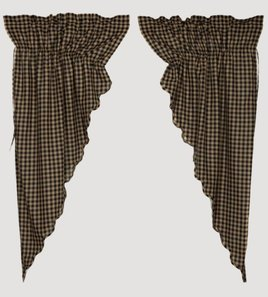 VHC Brands Black Check Lined Scalloped Prairie Curtain