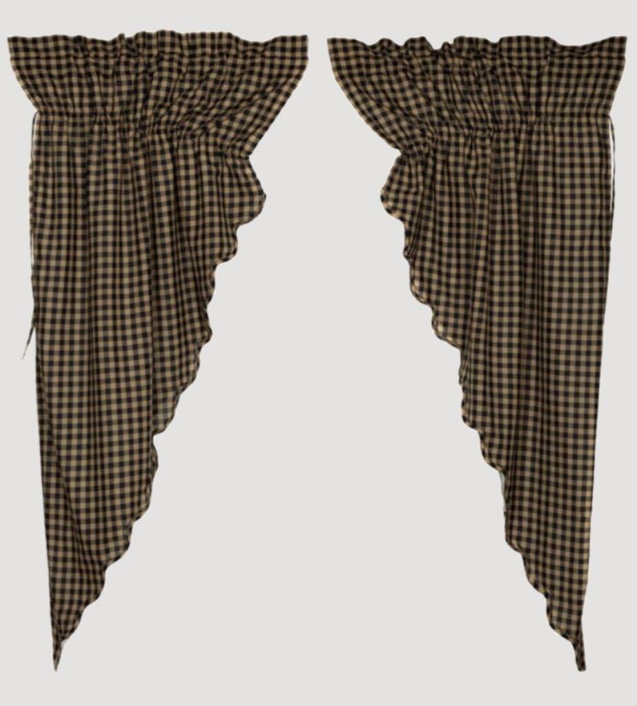VHC Brands Black Check Lined Scalloped Prairie Curtain Set of 2