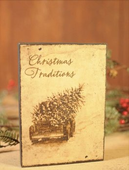 Christmas Traditions Block Sign