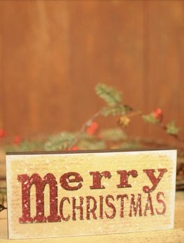 M for Merry Christmas Block Sign