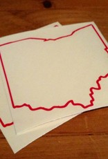Be Ohio Proud Red Ohio Outline W/Dot Sticker DNR