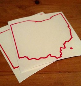 Be Ohio Proud Red Ohio Outline with Dot Sticker